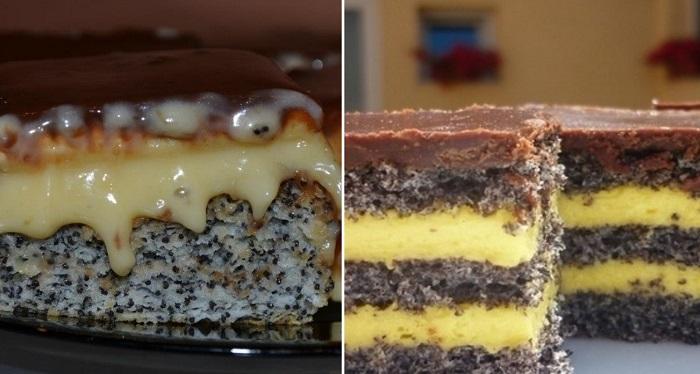 Рецепт удивительного торта с маком, ванильным кремом и шоколадной помадкой!